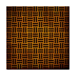Woven1 Black Marble & Yellow Grunge Tile Coasters