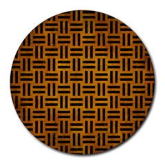 Woven1 Black Marble & Yellow Grunge Round Mousepads