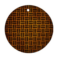 Woven1 Black Marble & Yellow Grunge Ornament (round)