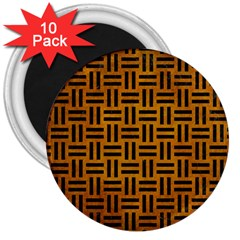 Woven1 Black Marble & Yellow Grunge 3  Magnets (10 Pack)