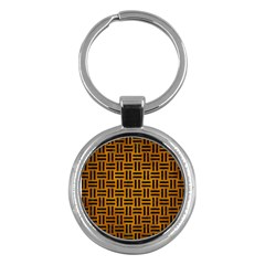Woven1 Black Marble & Yellow Grunge Key Chains (round)