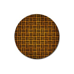 Woven1 Black Marble & Yellow Grunge Magnet 3  (round)
