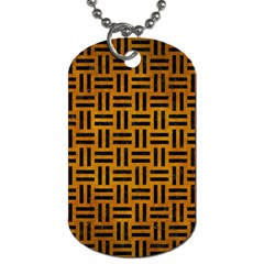 Woven1 Black Marble & Yellow Grunge Dog Tag (one Side)