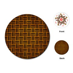Woven1 Black Marble & Yellow Grunge Playing Cards (round)