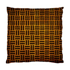 Woven1 Black Marble & Yellow Grunge Standard Cushion Case (two Sides)