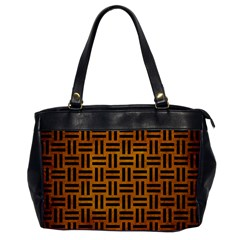 Woven1 Black Marble & Yellow Grunge Office Handbags