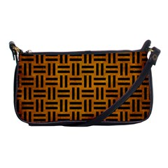 Woven1 Black Marble & Yellow Grunge Shoulder Clutch Bags