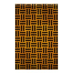 Woven1 Black Marble & Yellow Grunge Shower Curtain 48  X 72  (small)