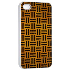 Woven1 Black Marble & Yellow Grunge Apple Iphone 4/4s Seamless Case (white)