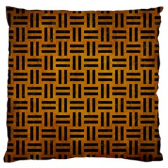 Woven1 Black Marble & Yellow Grunge Large Cushion Case (two Sides)
