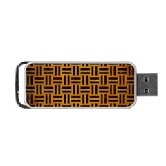 Woven1 Black Marble & Yellow Grunge Portable Usb Flash (one Side)