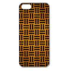 Woven1 Black Marble & Yellow Grunge Apple Seamless Iphone 5 Case (clear)