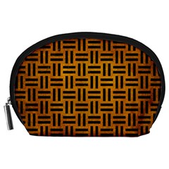 Woven1 Black Marble & Yellow Grunge Accessory Pouches (large)