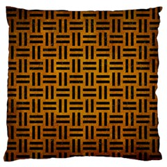 Woven1 Black Marble & Yellow Grunge Large Flano Cushion Case (one Side)