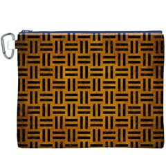 Woven1 Black Marble & Yellow Grunge Canvas Cosmetic Bag (xxxl)