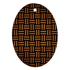 Woven1 Black Marble & Yellow Grunge (r) Ornament (oval)