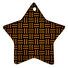 Woven1 Black Marble & Yellow Grunge (r) Ornament (star)