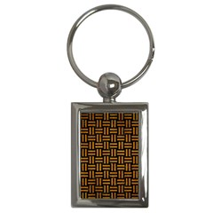 Woven1 Black Marble & Yellow Grunge (r) Key Chains (rectangle)