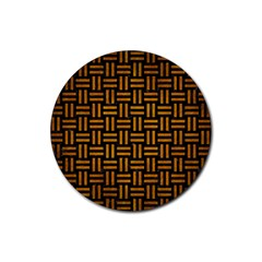 Woven1 Black Marble & Yellow Grunge (r) Rubber Coaster (round)