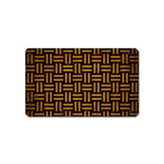 Woven1 Black Marble & Yellow Grunge (r) Magnet (name Card)