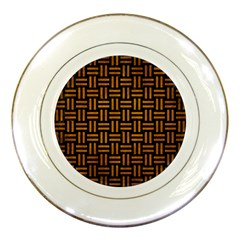 Woven1 Black Marble & Yellow Grunge (r) Porcelain Plates