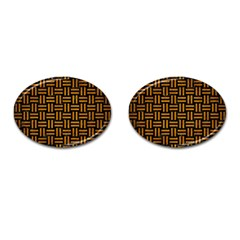 Woven1 Black Marble & Yellow Grunge (r) Cufflinks (oval)