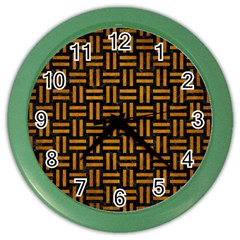 Woven1 Black Marble & Yellow Grunge (r) Color Wall Clocks