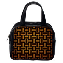 Woven1 Black Marble & Yellow Grunge (r) Classic Handbags (one Side)
