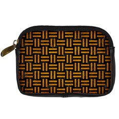Woven1 Black Marble & Yellow Grunge (r) Digital Camera Cases