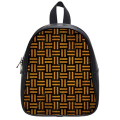 Woven1 Black Marble & Yellow Grunge (r) School Bag (small)