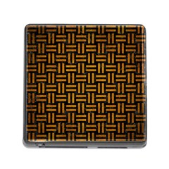 Woven1 Black Marble & Yellow Grunge (r) Memory Card Reader (square)
