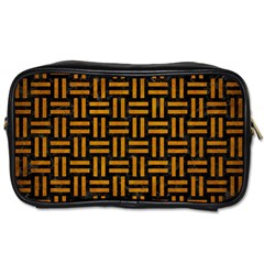 Woven1 Black Marble & Yellow Grunge (r) Toiletries Bags 2 Side