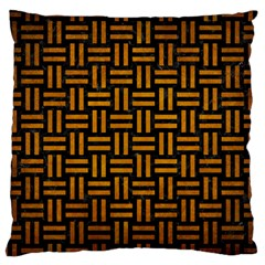 Woven1 Black Marble & Yellow Grunge (r) Large Cushion Case (one Side)