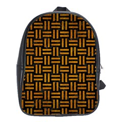 Woven1 Black Marble & Yellow Grunge (r) School Bag (xl)