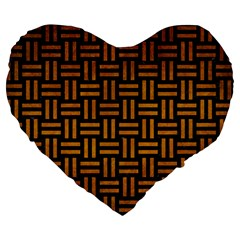 Woven1 Black Marble & Yellow Grunge (r) Large 19  Premium Heart Shape Cushions