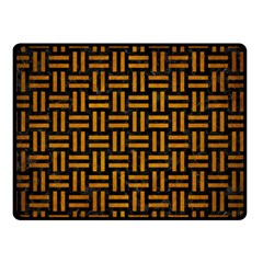 Woven1 Black Marble & Yellow Grunge (r) Double Sided Fleece Blanket (small)