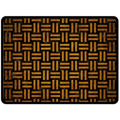 Woven1 Black Marble & Yellow Grunge (r) Double Sided Fleece Blanket (large)