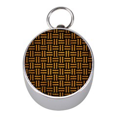 Woven1 Black Marble & Yellow Grunge (r) Mini Silver Compasses
