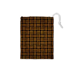 Woven1 Black Marble & Yellow Grunge (r) Drawstring Pouches (small)