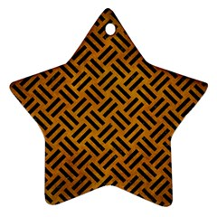 Woven2 Black Marble & Yellow Grunge Ornament (star)