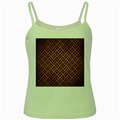Woven2 Black Marble & Yellow Grunge Green Spaghetti Tank