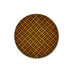 Woven2 Black Marble & Yellow Grunge Magnet 3  (round)