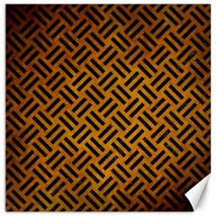 Woven2 Black Marble & Yellow Grunge Canvas 12  X 12