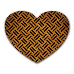 Woven2 Black Marble & Yellow Grunge Heart Mousepads