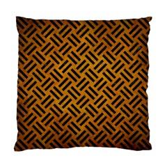 Woven2 Black Marble & Yellow Grunge Standard Cushion Case (two Sides)