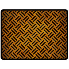 Woven2 Black Marble & Yellow Grunge Fleece Blanket (large)