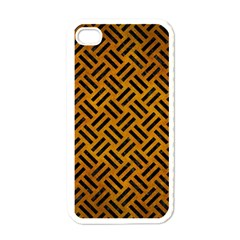 Woven2 Black Marble & Yellow Grunge Apple Iphone 4 Case (white)