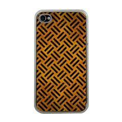 Woven2 Black Marble & Yellow Grunge Apple Iphone 4 Case (clear)