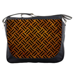 Woven2 Black Marble & Yellow Grunge Messenger Bags