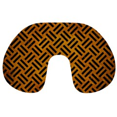 Woven2 Black Marble & Yellow Grunge Travel Neck Pillows